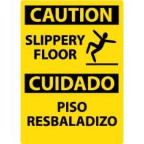 Caution Slippery Floor Spanish Sign (#ESC366)