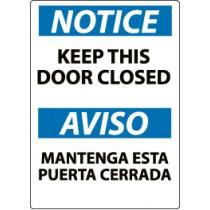 Notice Keep This Door Closed Spanish Sign (#ESN2)