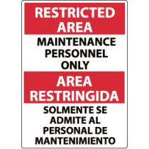 Restricted Area Maintenance Personnel Only Spanish Sign (#ESRA15)