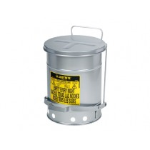 Justrite Foot-Operated Self-Closing Soundgard Cover Oily Waste Can, 10 Gallon, Silver (#09304)