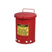 Justrite Hand-Operated Cover Oily Waste Can, 21 Gallon, Red (#09710)