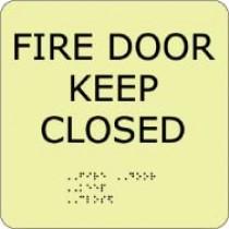 Fire Door Keep Closed Glow Office ADA Sign (#GADA108BK)