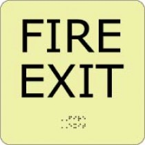 Fire Exit Glow Office ADA Sign (#GADA109BK)