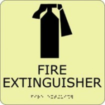 Fire Extinguisher Glow Office ADA Sign (#GADA110BK)