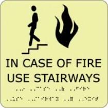 In Case Of Fire Use Stairways Glow Office ADA Sign (#GADA111BK)
