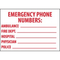 Emergency Phone Numbers: Sign (#M346)