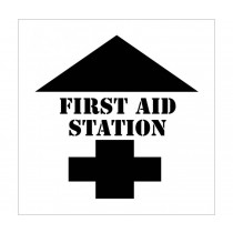 First Aid Station With Arrow Plant Marking Stencil (#PMS206)