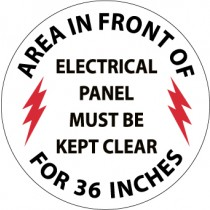 Area In Front Of Electrical Panel Must Be Kept Clear For 36 Inches Walk On Floor Sign (#WFS27)