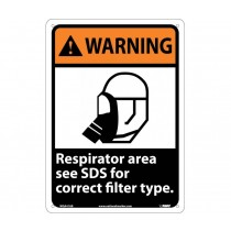 Warning Respirator area see SDS for correct filter type. Sign (#WGA41)