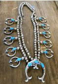 SBN12 Pawn Turquoise Squash Blossom Necklace Navajo Handmade