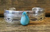 B9 Navajo Handmade Turquoise Bracelet By Charlie John