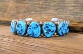 PB11 Heavy Sterling Silver Bracelet with Sleeping Beauty Turquoise