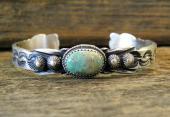 B8- Sterling Silver Navajo Handmade Turquoise Bracelet