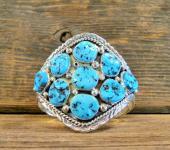 PB7 Pawned Navajo Handmade Sleeping Beauty Turquoise Bracelet