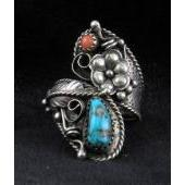 RN16 Turquoise & Coral Adjustable Ring