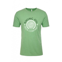 Swing Oil Beer Company golf ball logo T-Shirt in Apple Green