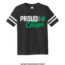 Proud To Be A Fighting Cougar Toddler Black Football Tee