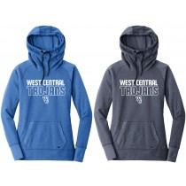Ladies West Central Trojans Tri-Blend Pullover Hoodie