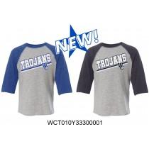 Toddler WC Trojans Baseball Tee Three-Quarter Sleeve - Glitter